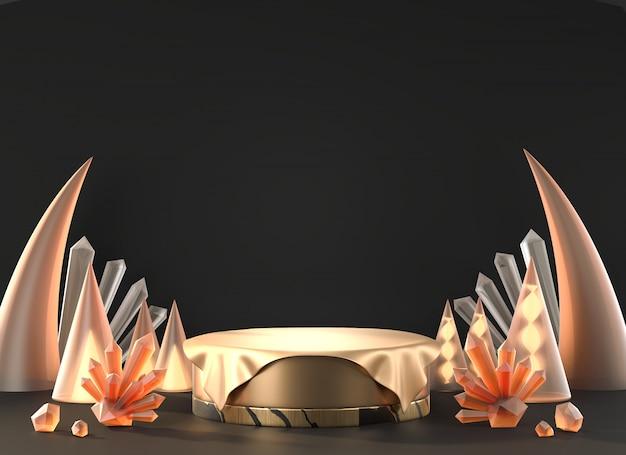 Металлический золотой стенд шаблон геометрии для рекламы продукта и рекламы с кристаллическим декорацией, 3d-рендеринга.