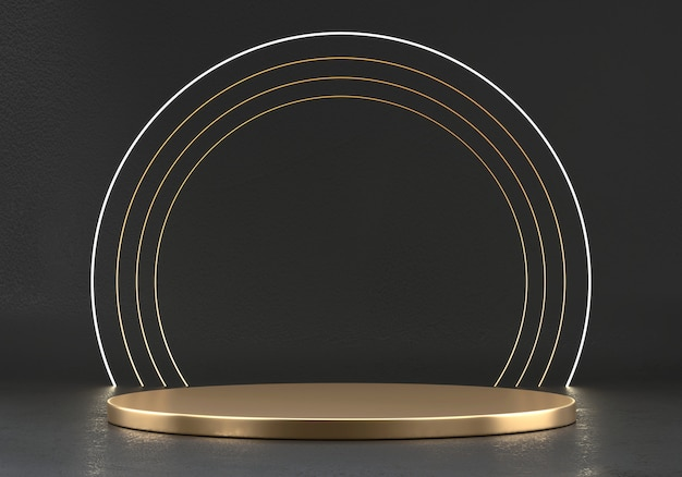 Абстрактная элегантность роскошная золотая сценическая платформа, шаблон для рекламного продукта, 3d-рендеринг.