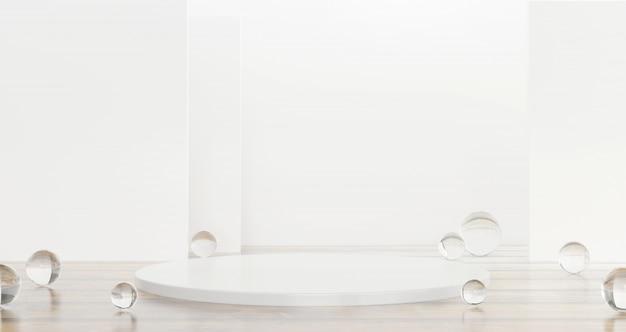 Белый шаблон продукта этап присутствует с прозрачного стеклянного шарика на фоне глянцевый рендеринга 3d