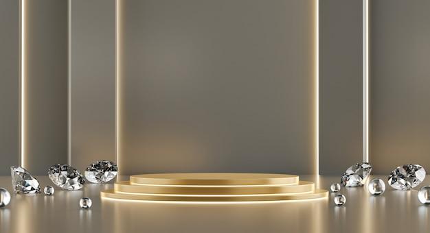 製品広告およびコマーシャル、3dレンダリング用のダイヤモンド入りゴールドメタリックモックアップスタンドテンプレート。
