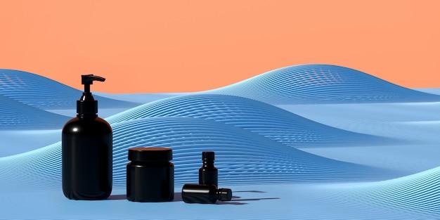 Косметика для презентации продукта. блок бутылки на синей параметрической волновой полосе. модный журнал иллюстрации. иллюстрация перевода 3d.