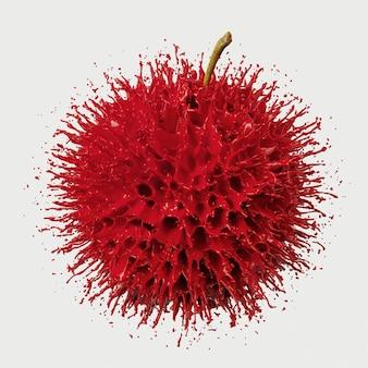 Красное яблоко всплеск на белом фоне. иллюстрация перевода 3d.