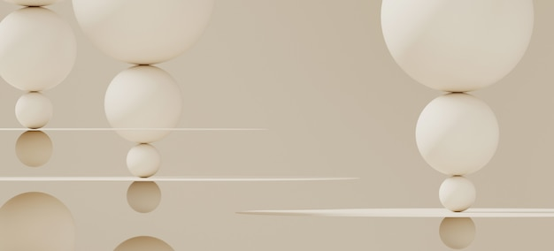 Абстрактный фон для брендинга и минимальной презентации. косметическая бутылка на круговой плоскости белого цвета и сфера на белом фоне. иллюстрация перевода 3d.