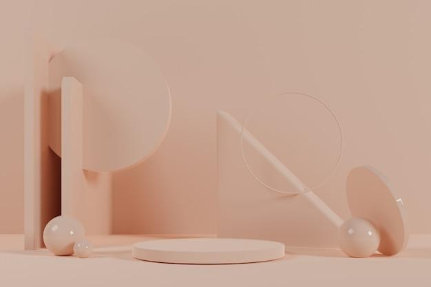 Абстрактная геометрическая сцена 3d с постаментом кремового цвета.