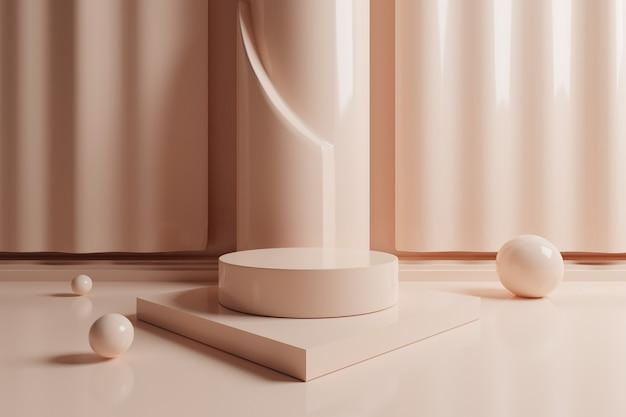 3d минимальная геометрическая сцена с кремовым цветом подиум.
