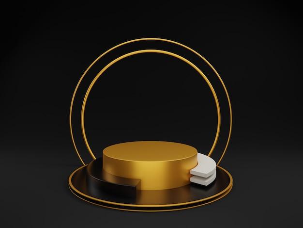 3d минимальный золотой подиум с золотым кольцом на черном