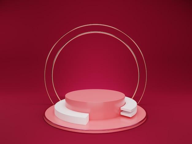 3d минимальный розовый подиум с серебряным кольцом на розовом