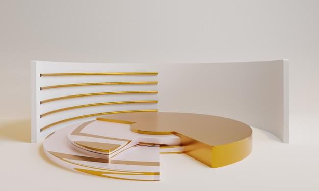 3d минимальный золотой подиум с золотым декором