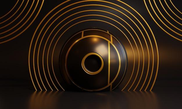 Абстрактная черная сцена 3d с украшением золота.