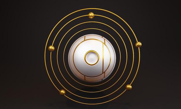 3d абстрактный белый шар с кругами