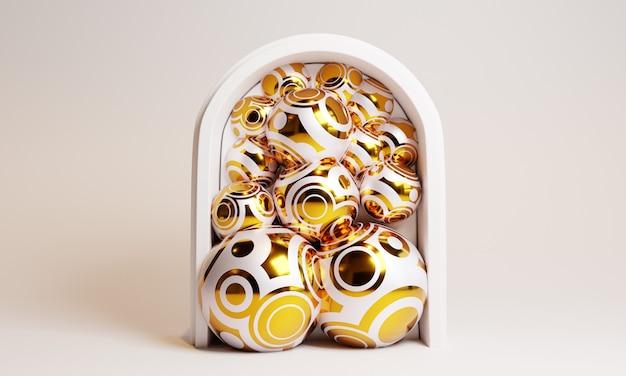 Абстрактная белая сцена 3d с золотыми шариками.