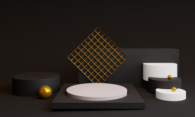 3d минимальные формы с подиумом и декоративными элементами