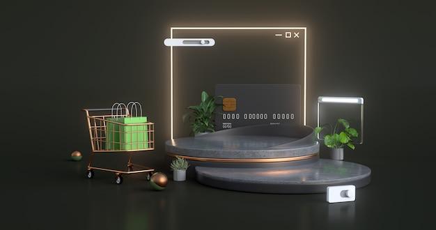 Перевод 3d золотой магазинной тележкаи с конкретным подиумом.