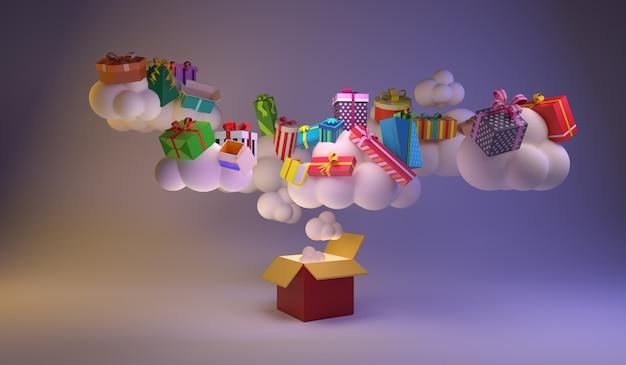 多くの雲が大きなギフトボックスから浮かんでおり、上部には多くのギフトボックスがあります。最小限のアイデア。 3dレンダリング。
