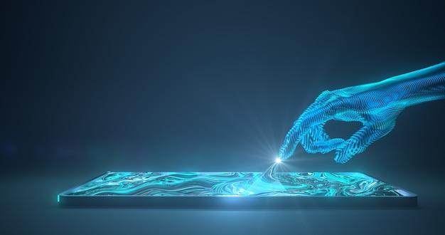 Абстрактная рука касаясь цифровому устройству. 3d-рендеринг,