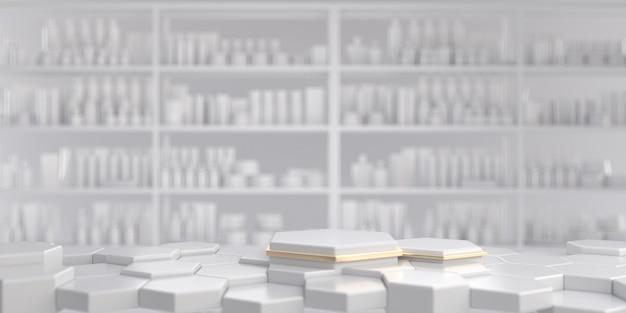 白い化粧品陳列棚のある白と金の六角形の台座。 3dレンダリング。