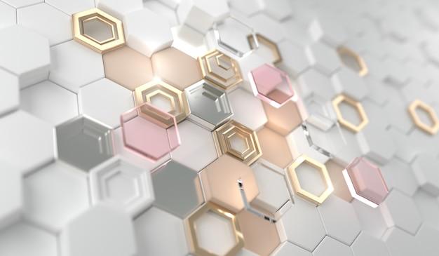 白い六角形の金の光沢のある輝く六角形。招待状、カード、販売、ファッション、写真などの結婚式のための黄金の高級線の境界線、美容製品。3dレンダリング。