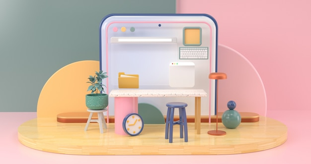 シンプルなデザインオブジェクトを使用したオンラインソーシャルコミュニケーションの概念的なワークスペース。3dレンダリング。