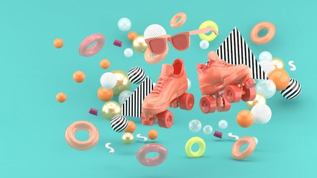 Розовые коньки обуви и розовые очки на фоне разноцветных шариков на синем. 3d визуализация