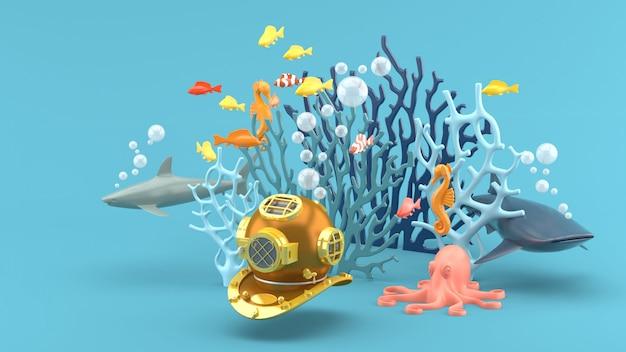 青いサンゴ、色とりどりの魚、サメ、タツノオトシゴ、タコの下でのマスクダイビング。 3dレンダー