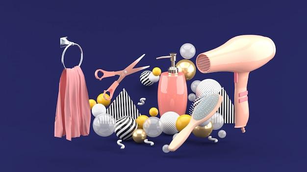 Парикмахерские среди красочных шаров на фиолетовый. 3d-рендеринг.