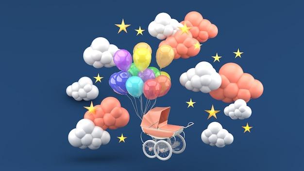 Розовая коляска и плавающие воздушные шары в окружении облаков и звезд на синем. 3d визуализация