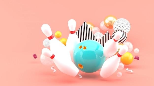 Синий боулинг среди разноцветных шариков на розовом. 3d-рендеринг.