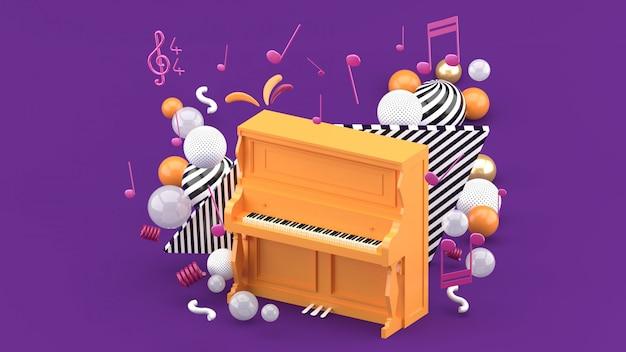 Оранжевое пианино окружено нотами и разноцветными шариками на фиолетовом. 3d визуализация