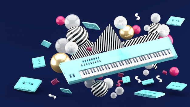 Голубая клавиатура рояля и голубая лента среди красочных шариков на сини. 3d визуализация
