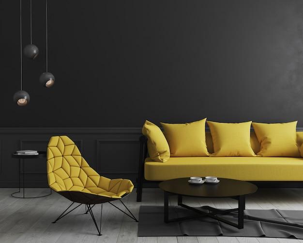 Современный интерьер комнаты с черной стеной и стильным желтым диваном и дизайнерским креслом возле кофейного столика, элегантный, роскошный, интерьер гостиной макет, 3d-рендеринг