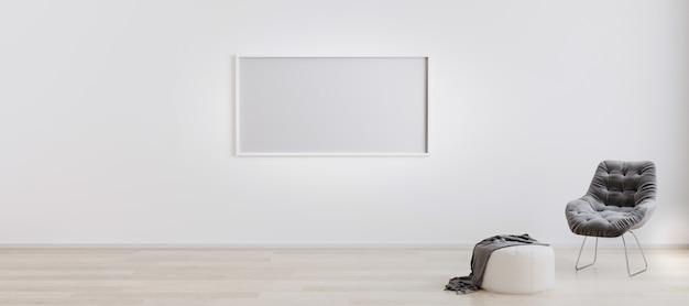 Пустая горизонтальная рамка в комнате с белой стеной и деревянным полом с белым пуфом и серым современным креслом. интерьер светлой комнаты с горизонтальной макет рамы. 3d-рендеринг.
