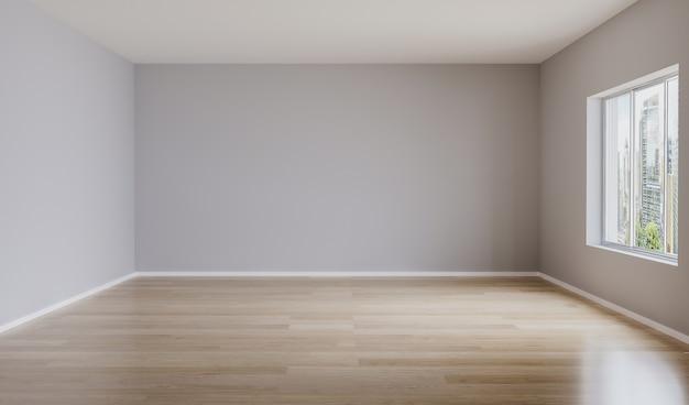 光の壁とフローリングの床と空の部屋。モックアップのための空の部屋。 3dレンダリング