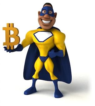 Забавный персонаж супергероя - 3d иллюстрации