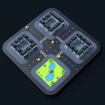 Самостоятельные автомобили 3d иллюстрация