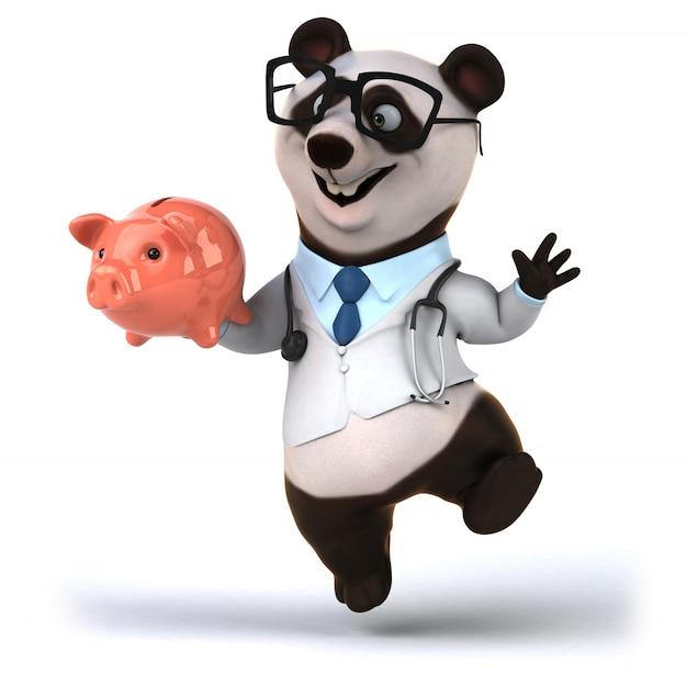 Перевод 3d смешного медведя панды в костюме доктора