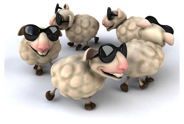 3d-рендеринг забавных овец