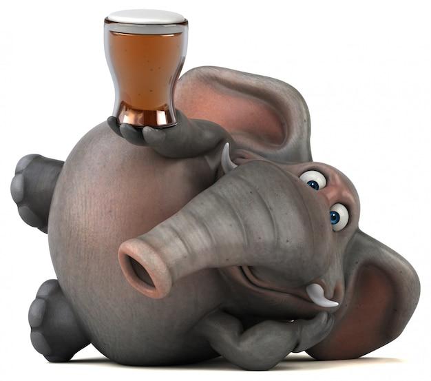 ビールのガラスを保持している楽しいイラスト象3d