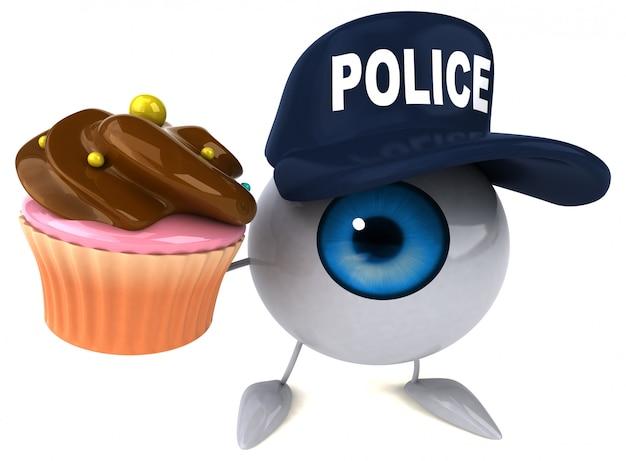 3d проиллюстрированный глаз нося шляпу полиции и держа пирожное