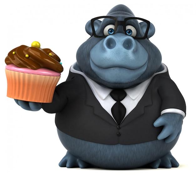Смешная горилла 3d держа торт чашки