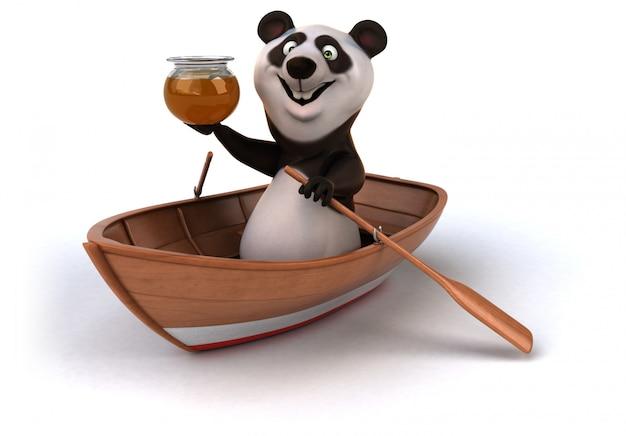 Смешная 3d панда в лодке с банкой меда