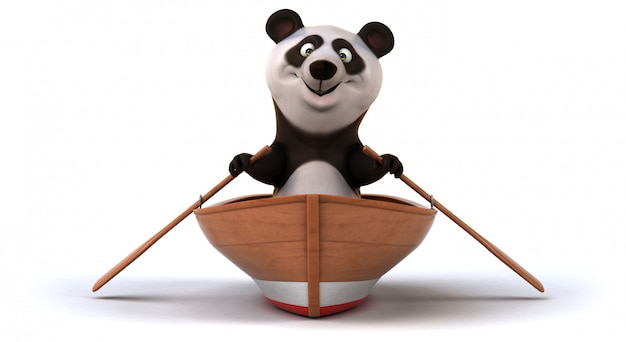 Смешная 3d панда в лодке