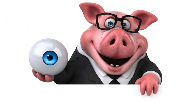 Веселая свинья - 3d иллюстрации