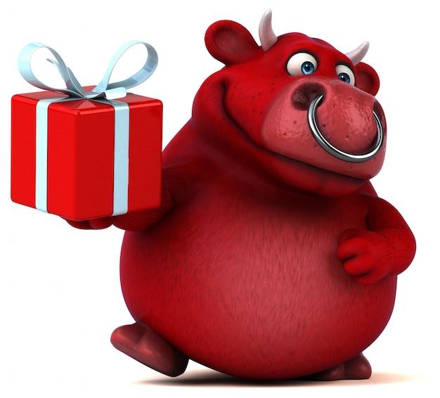 Красный бык - 3d иллюстрация