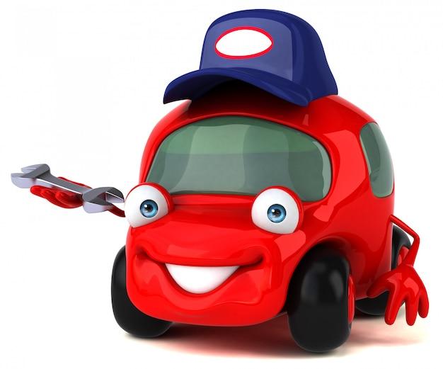 Забавный автомобильный персонаж 3d иллюстрация