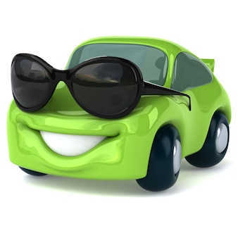 Зеленый автомобиль персонаж 3d иллюстрация