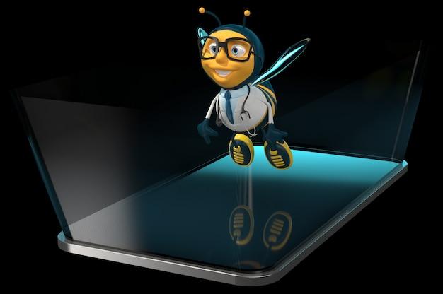 電話で蜂-3dイラストレーション