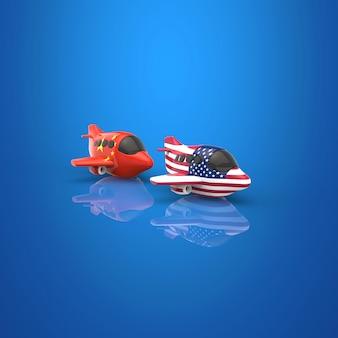 飛行機と輸送のコンセプト-3dイラストレーション