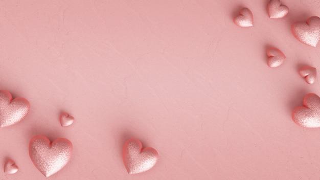 Много сверкающих розовых сердечек на пастельно-розовой штукатурке. 3d визуализация.