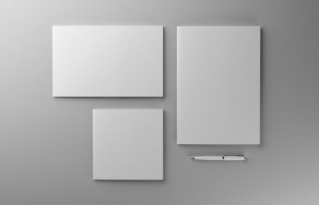 Пустая фотореалистичная брошюра с ручкой на светло-сером фоне, 3d иллюстрации.
