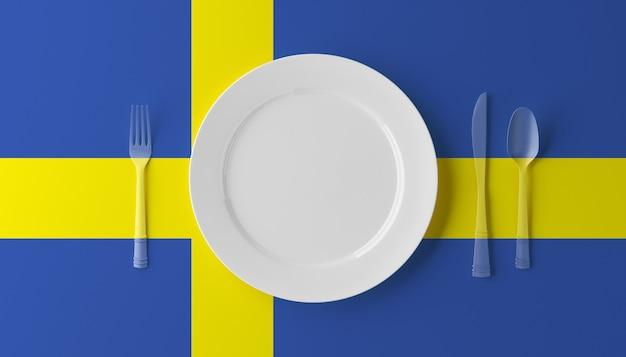 Аутентичная кухня швеции. тарелка с шведским флагом и столовыми приборами. 3d иллюстрации.